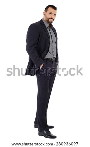 Full length of a confident good looking businessman isolated on white background - stock photo