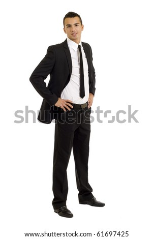 Full length of a handsome business man standing with hands on hips against white - stock photo