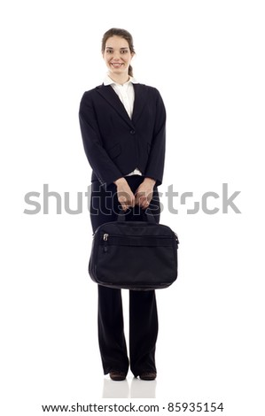 Full length of a happy business woman with briefcase standing isolated over white background - stock photo