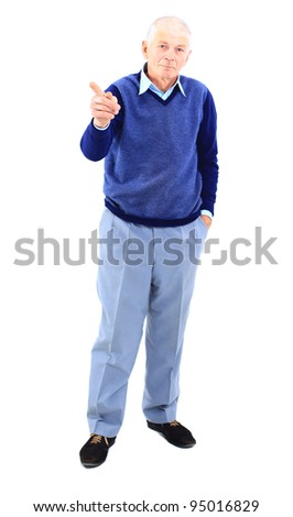 Full length of a happy mature man showing a thumbs up on white - stock photo