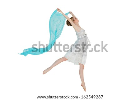 Full length of a young beautiful female dancer with blue scarf against white background - stock photo