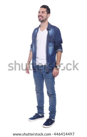 Full length of a young latin man. Isolated white background. - stock photo