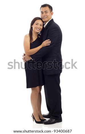 Full length of an Asian couple standing together isolated over white background - stock photo