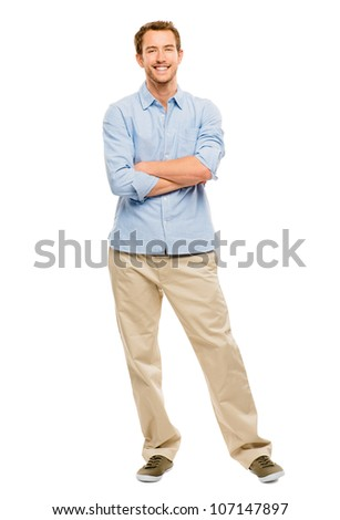 Full length of attractive young man in casual clothing white background - stock photo