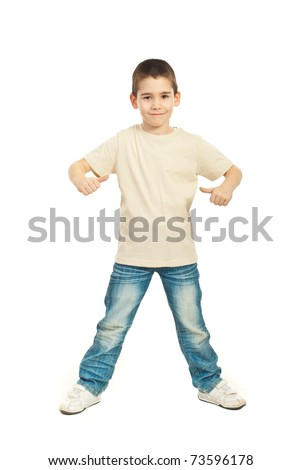 Full length of boy in blank beige t-shirt showing  thumbs isolated on white background - stock photo