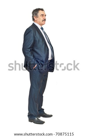 Full length of business man looking away and thinking at perspectives isolated on white background - stock photo