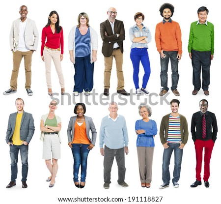 Full Length of Diverse Multiethnic People in a Row  - stock photo