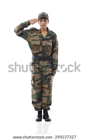 Full length of female soldier saluting - stock photo