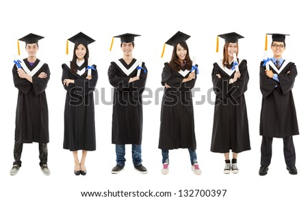 full length of happy  young graduate students group - stock photo
