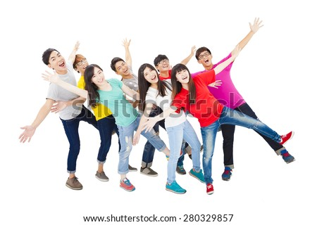 full length of happy young student group   - stock photo