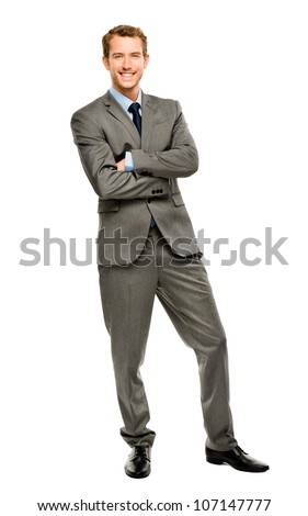 Full length of successful businessman on white background - stock photo