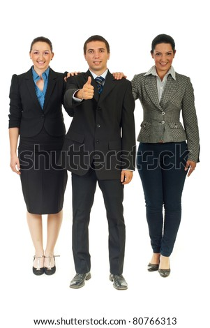 Full length of successful united business people isolated on white background - stock photo