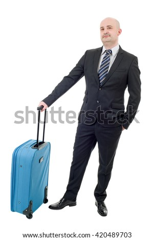 Full length of young businessman with luggage isolated on white background - stock photo