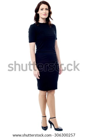 Full length of young businesswoman posing over white - stock photo