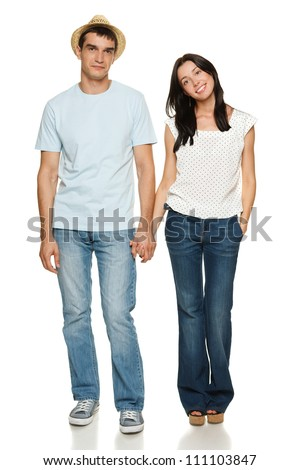 Full length of young couple holding their hands isolated over white background - stock photo