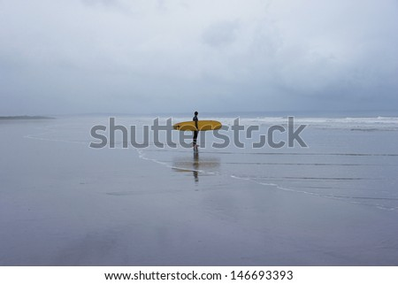 Full length of young male surfer with surfboard walking towards sea on beach - stock photo