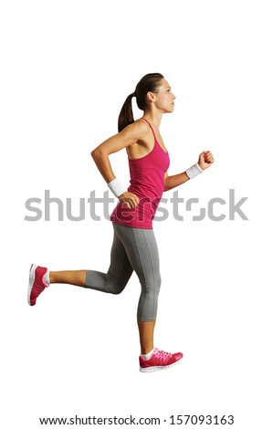 full-length photo of running woman over white background - stock photo