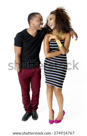 Full-Length Picture of Attractive African Couple Having Fun Together in the Studio, Looking at Each Other, Laughing, Isolated on White Background - stock photo