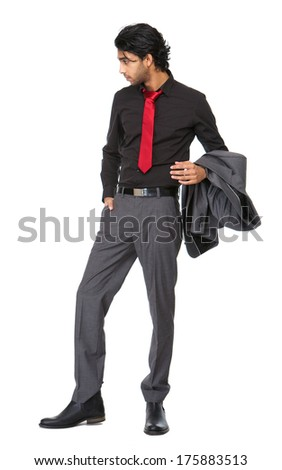 Full length portrait go a young business man standing on isolated white background - stock photo