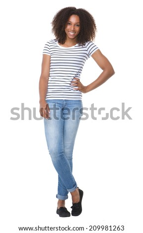 Full length portrait of a beautiful african american woman smiling on isolated white background - stock photo