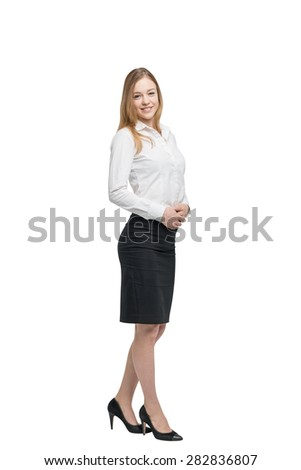 Full length portrait of a beautiful business lady. Isolated. - stock photo