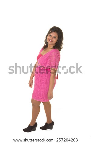 Full length portrait of a beautiful indian woman isolated on white - stock photo