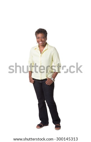Full length portrait of a beautiful older woman, isolated  - stock photo