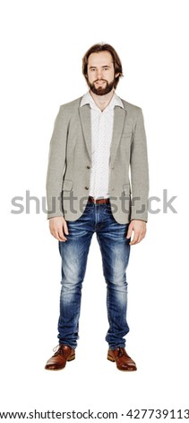 full length portrait of a business man. image on a white studio background. - stock photo
