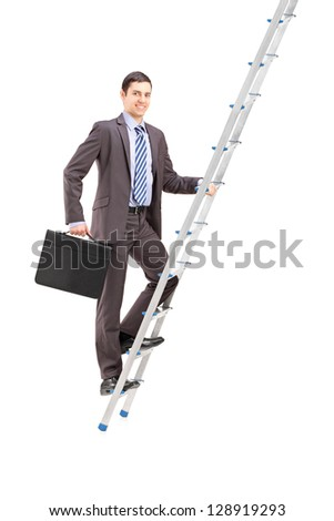 Full length portrait of a businessman climbing a ladder, isolated on white background - stock photo