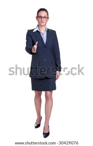 Full length portrait of a businesswoman offering to shake your hand, isolated on white background. - stock photo