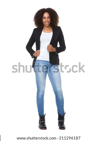Full length portrait of a casual young african american woman  - stock photo