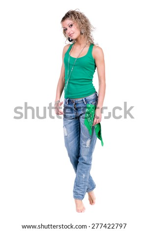 Full length portrait of a caucasian woman isolated on white - stock photo