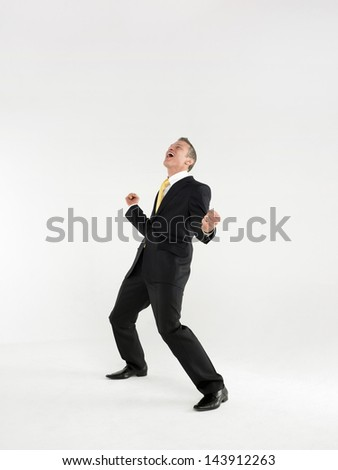 Full length portrait of a cheerful business celebrating against white background - stock photo