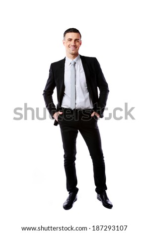 Full-length portrait of a cheerful businessman isolated on a white background - stock photo