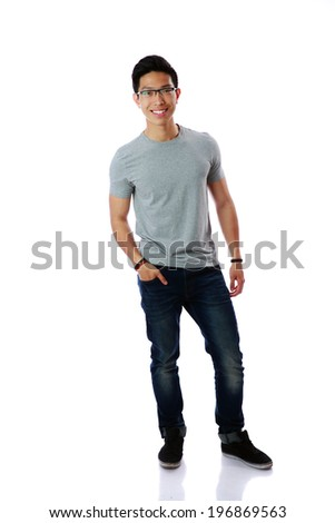 Full-length portrait of a cheerful man in glasses over white background - stock photo