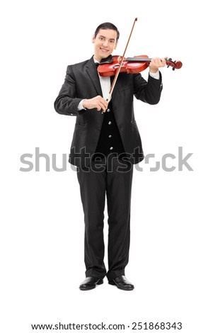 Full length portrait of a classical musician playing a violin isolated on white background - stock photo