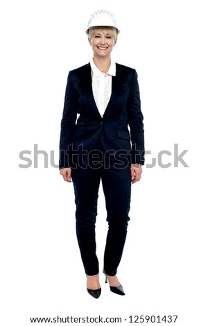 Full length portrait of a confident business architect. All against white background. - stock photo