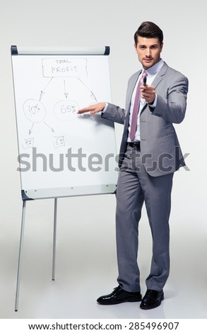 Full length portrait of a confident businessman making presentation on flipchart over gray background - stock photo