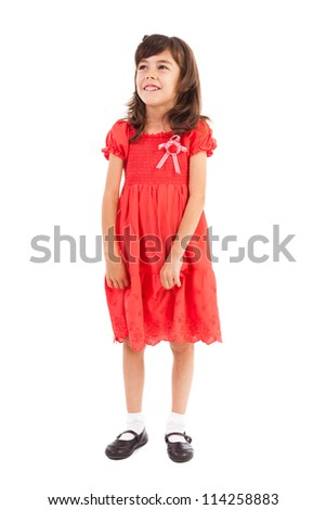 Full length portrait of a cute little girl in a dress isolated on white - stock photo