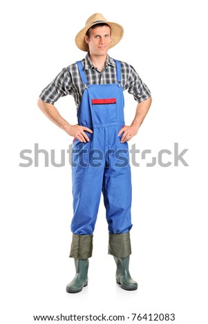Full length portrait of a farmer posing isolated on white background - stock photo