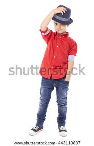 Full length portrait of a fashionable boy over white background - stock photo