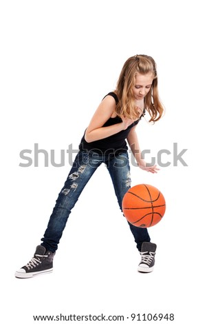 Full length portrait of a girl playing basketball isolated on white background - stock photo