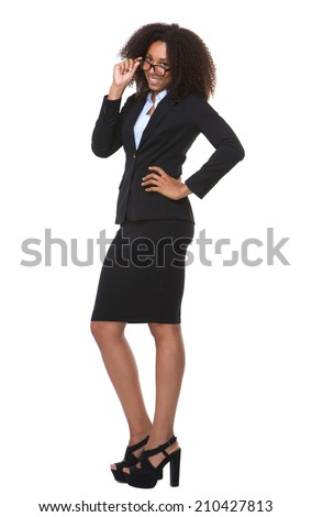 Full length portrait of a happy business woman with glasses - stock photo