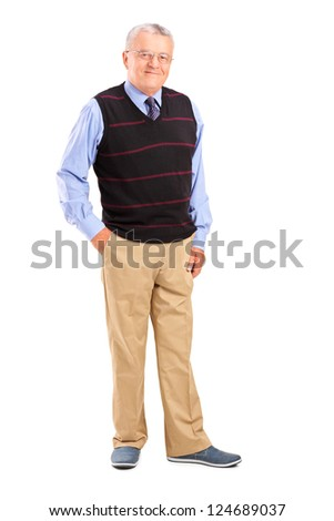 Full length portrait of a happy gentleman posing isolated against white background - stock photo