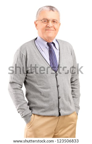 Full length portrait of a happy gentleman posing isolated on white background - stock photo