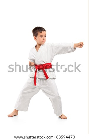 Full length portrait of a karate child exercise isolated on white background - stock photo
