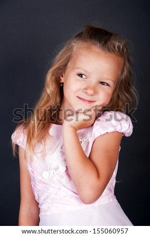 Full length portrait of a little girl standing - stock photo