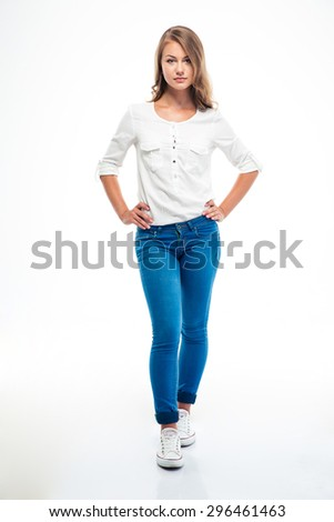 Full length portrait of a lovely woman standing isolated on a white background - stock photo