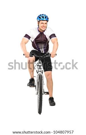 Full length portrait of a male bicyclist posing on a bicycle isolated against white background - stock photo