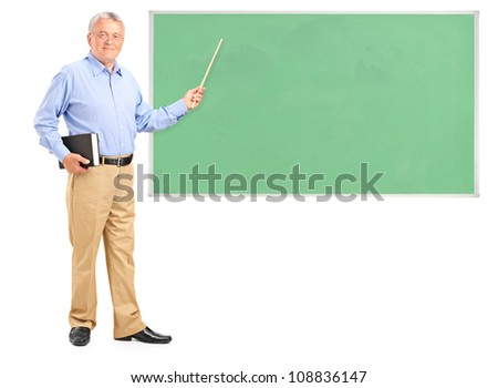 Full length portrait of a male teacher holding a wand and green school board isolated on white background - stock photo